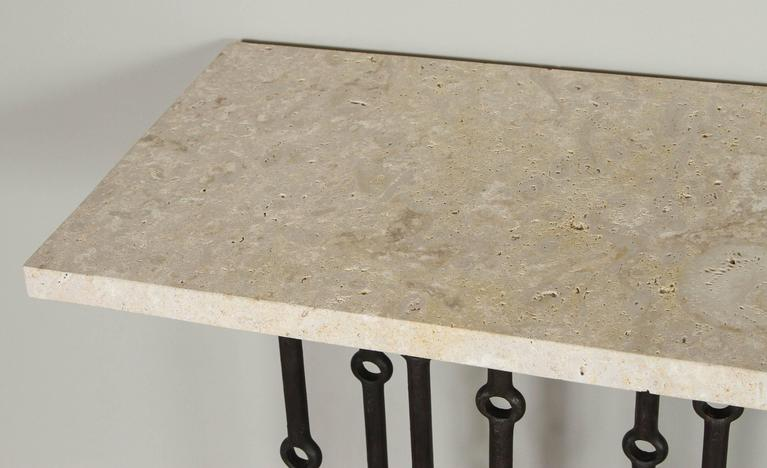 Paul Marra Iron Console with Coral Stone For Sale 3