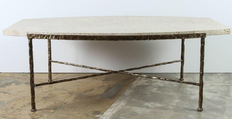 Paul Marra Ellipse Cocktail Table in Textured Gold Iron and Coral Stone 2