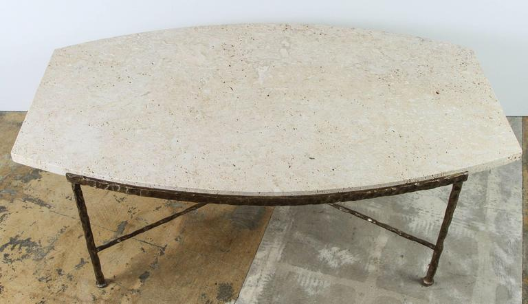 Paul Marra Ellipse Cocktail Table in Textured Gold Iron and Coral Stone 3