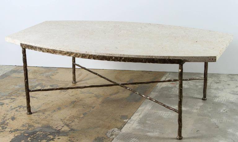 Paul Marra Ellipse Cocktail Table in Textured Gold Iron and Coral Stone 8