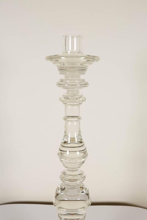Pair of Seguso Handblown Glass Candlesticks by Lucio Romero In Excellent Condition For Sale In New York, NY