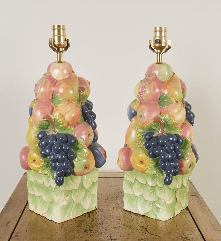 Pair of Italian Ceramic Fruit Topiary Table Lamps 2
