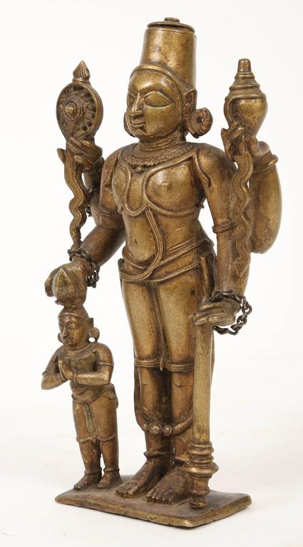 Tribal Bronze Statuette of Lord Vishnu and the Goddess Lakshmi, Indian, 18th Century For Sale