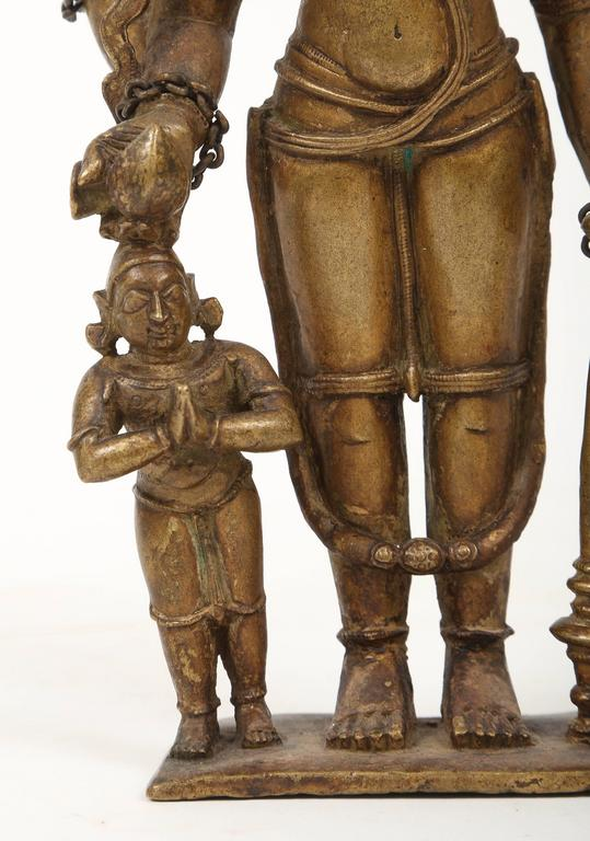 Cast Bronze Statuette of Lord Vishnu and the Goddess Lakshmi, Indian, 18th Century For Sale