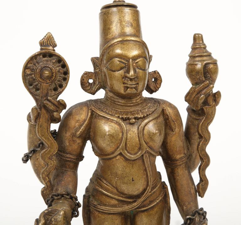 Bronze Statuette of Lord Vishnu and the Goddess Lakshmi, Indian, 18th Century In Excellent Condition For Sale In Kensington, MD