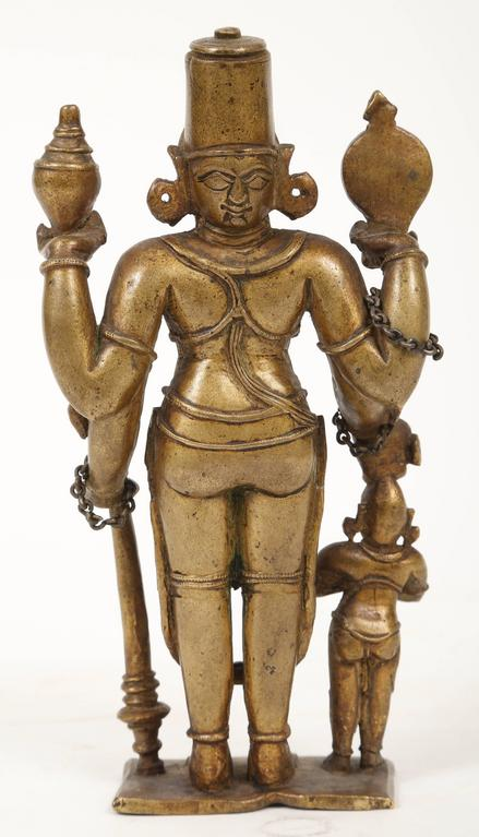 18th Century and Earlier Bronze Statuette of Lord Vishnu and the Goddess Lakshmi, Indian, 18th Century For Sale