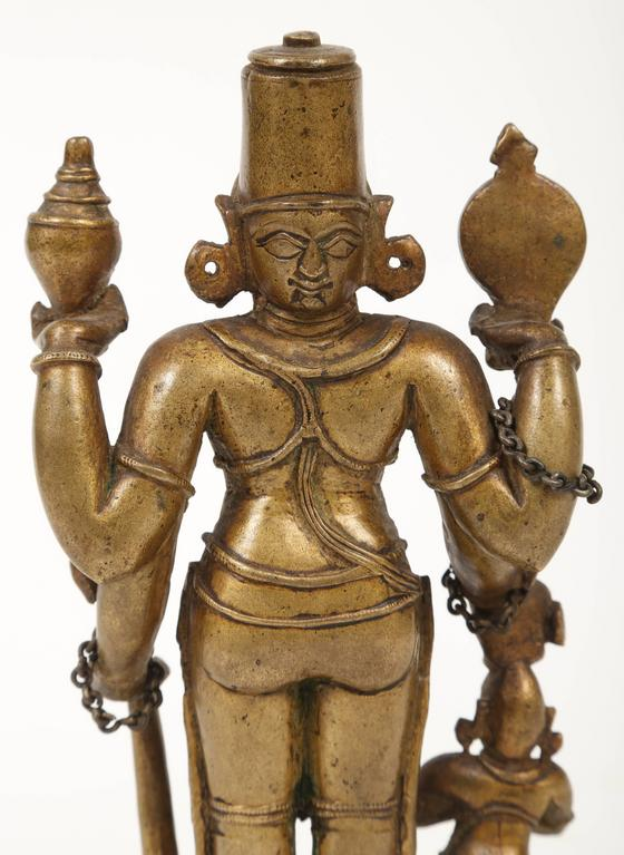 Bronze Statuette of Lord Vishnu and the Goddess Lakshmi, Indian, 18th Century For Sale 1