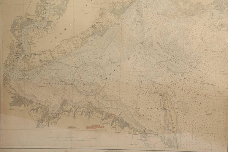 Framed US Coast Guard map of the New York Harbor, stamped April 12, 1930.  Stock ID: D9417