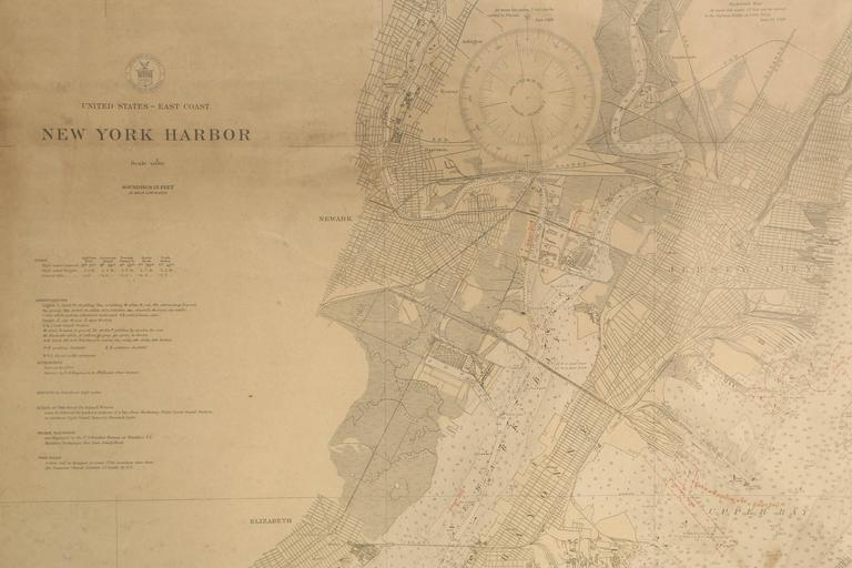 American Vintage Map of New York Harbor, Framed, circa 1930  For Sale
