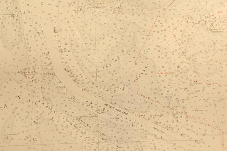Vintage Map of New York Harbor, Framed, circa 1930  For Sale 1