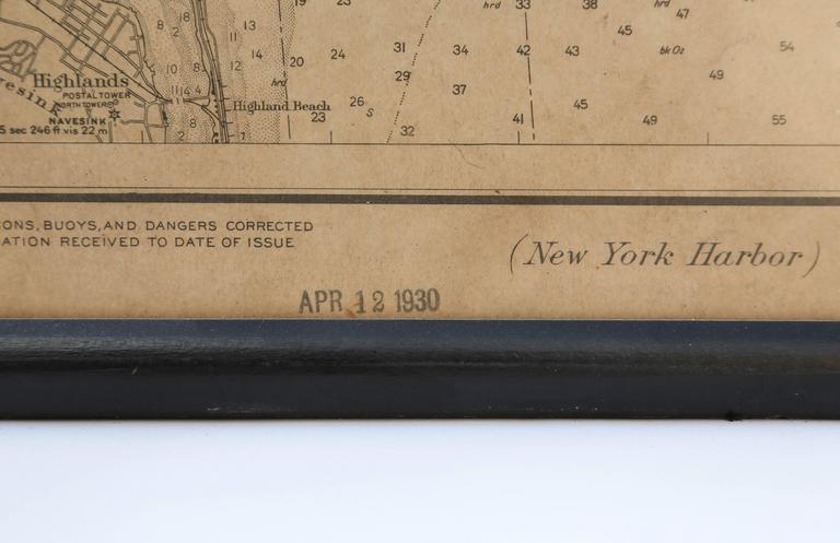 Vintage Map of New York Harbor, Framed, circa 1930  For Sale 2
