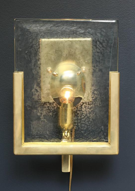 Pair of Italian Solid Murano Glass Block and Brass Sconces 2