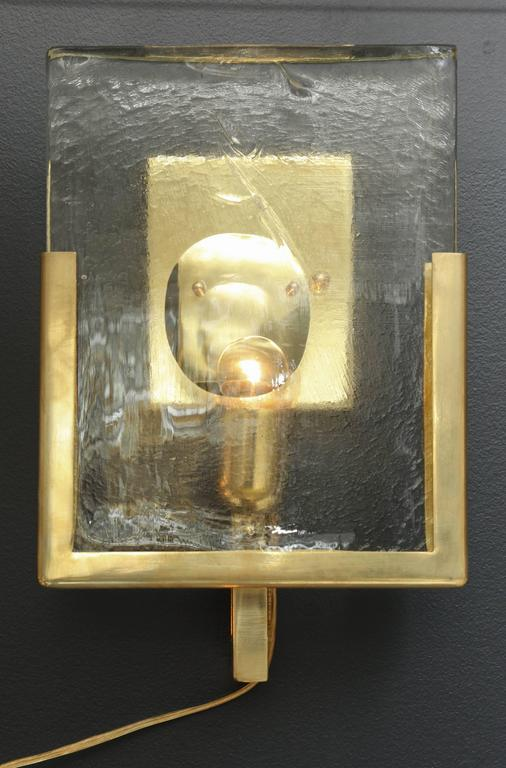 Pair of Italian Solid Murano Glass Block and Brass Sconces 3