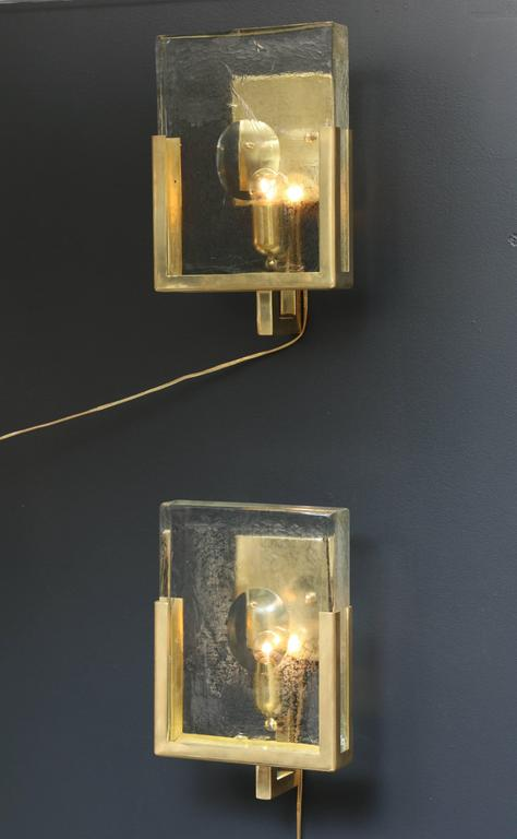 Pair of Italian Solid Murano Glass Block and Brass Sconces 4