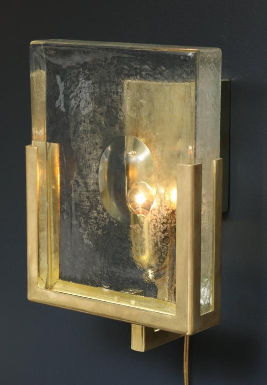 Pair of Italian Solid Murano Glass Block and Brass Sconces 5