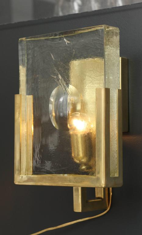 Pair of Italian Solid Murano Glass Block and Brass Sconces 6
