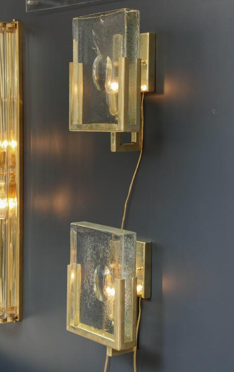 Pair of Italian Solid Murano Glass Block and Brass Sconces 7