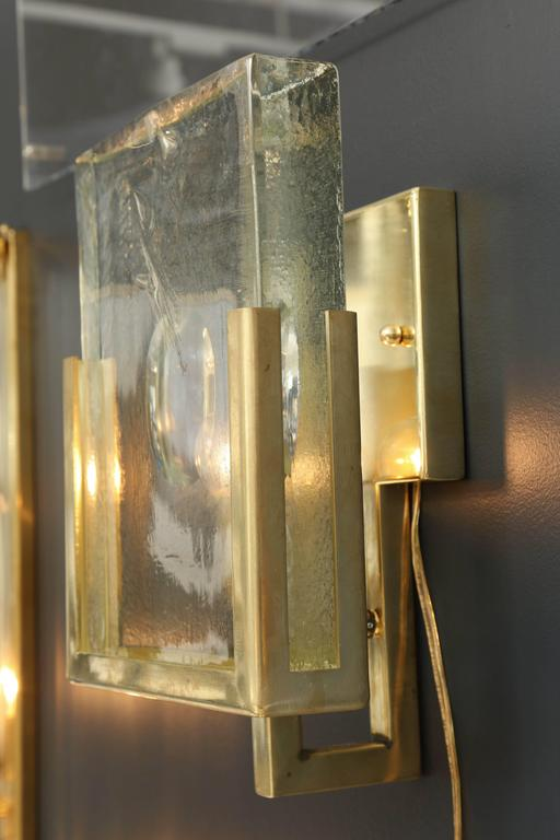 Pair of Italian Solid Murano Glass Block and Brass Sconces 8