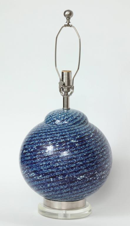 Modern Barovier Midnight Blue Murano Glass Table Lamps For Sale