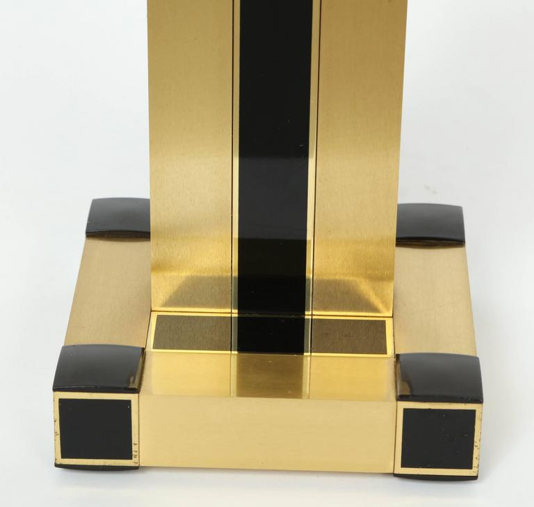 Willy Rizzo Brass and Black Resin Table Lamps 3