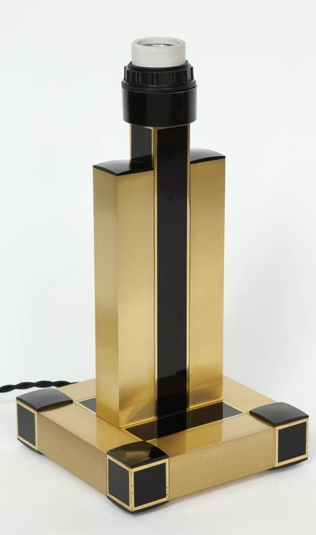 Willy Rizzo Brass and Black Resin Table Lamps 8