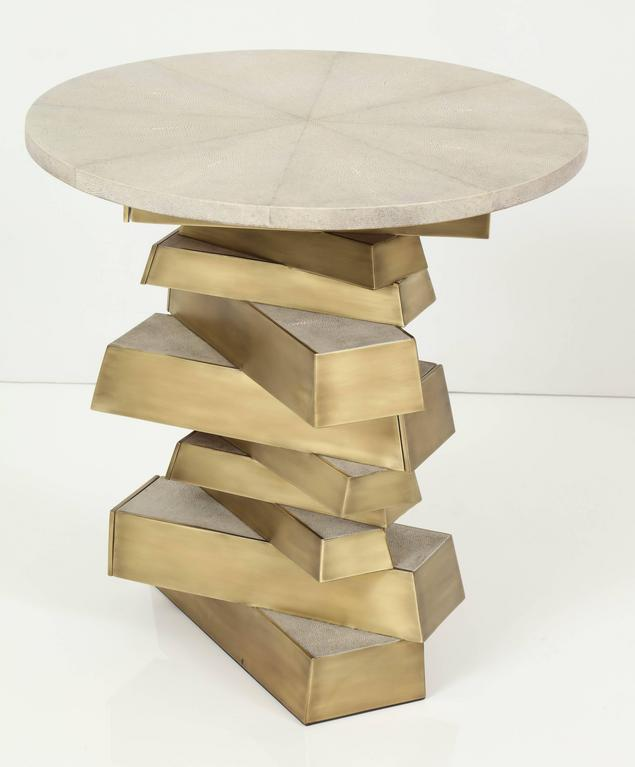 Modern Shagreen and Bronze Side Table, Cream Color For Sale
