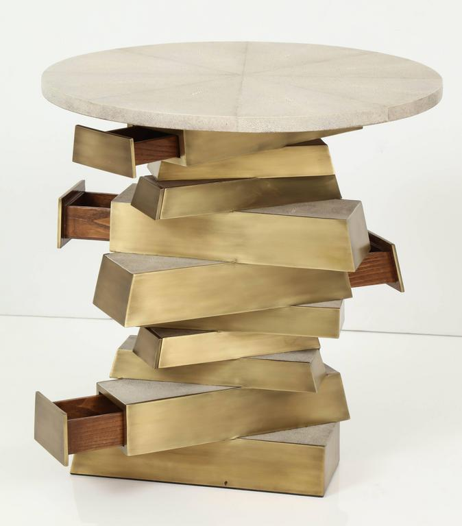Philippine Shagreen and Bronze Side Table, Cream Color For Sale