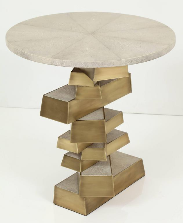 Shagreen and Bronze Side Table, Cream Color For Sale 2