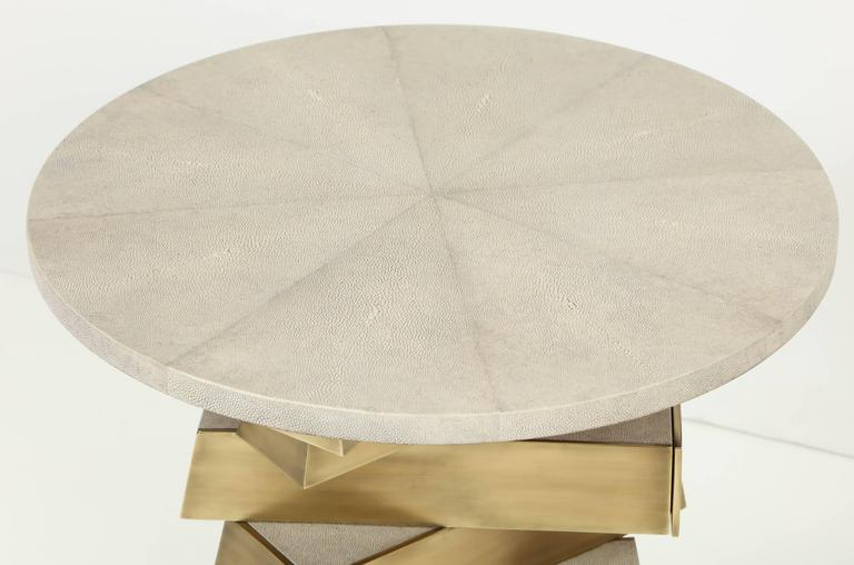 Shagreen and Bronze Side Table, Cream Color For Sale 3