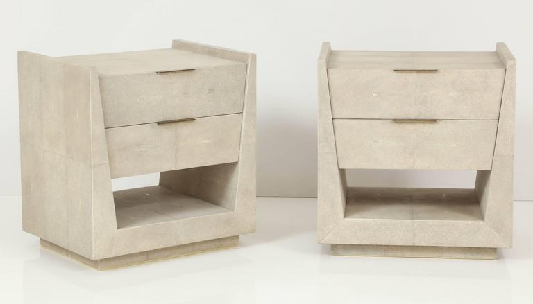 Shagreen Side Tables or Nightstands, France, Offered by Area ID 2