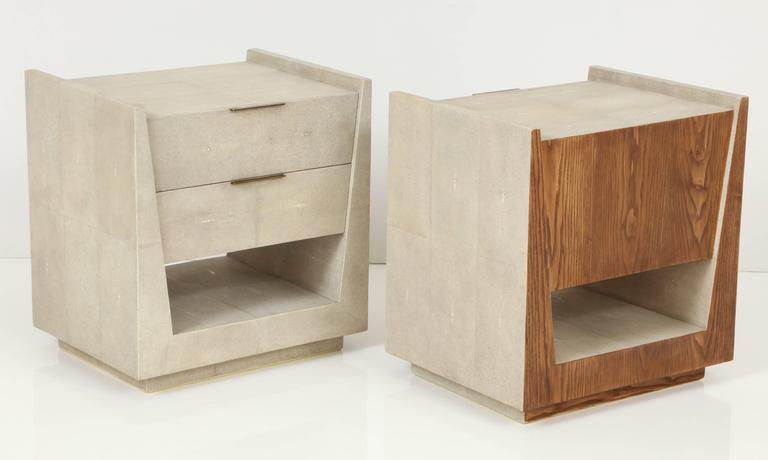 Shagreen Side Tables or Nightstands, France, Offered by Area ID 3