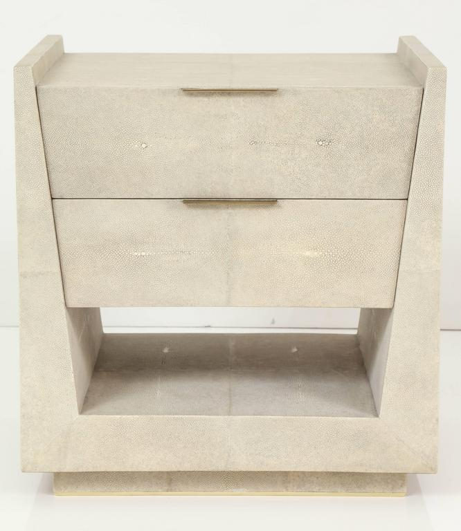 Shagreen Side Tables or Nightstands, France, Offered by Area ID 5