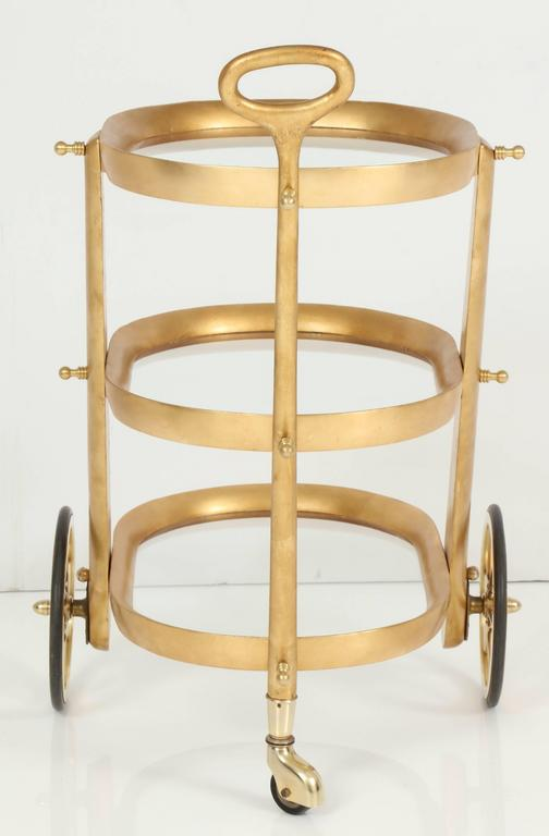 Mid-20th Century Bar Cart by Aldo Tura, Silver Leaf, C 1950, Italy For Sale