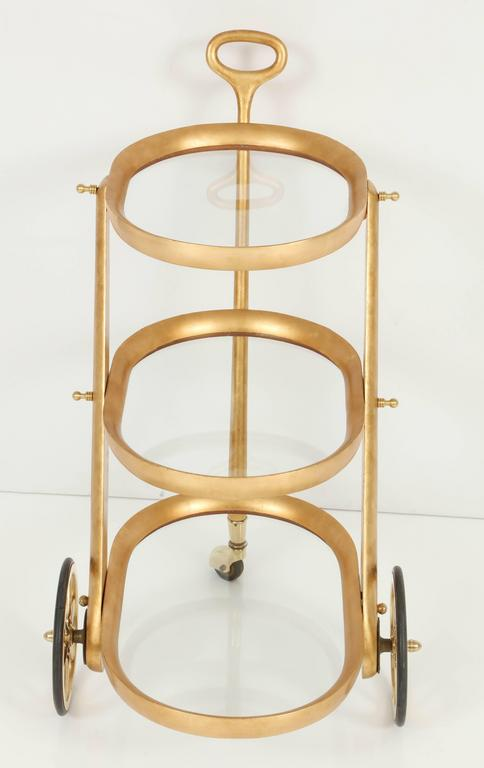 Gold Leaf Bar Cart by Aldo Tura, Silver Leaf, C 1950, Italy For Sale