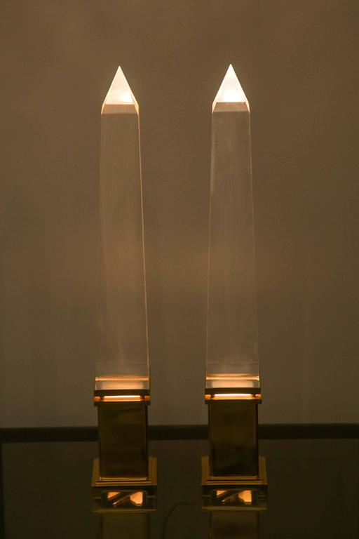 Mid-20th Century Fine Pair of Obelisks Lamps For Sale