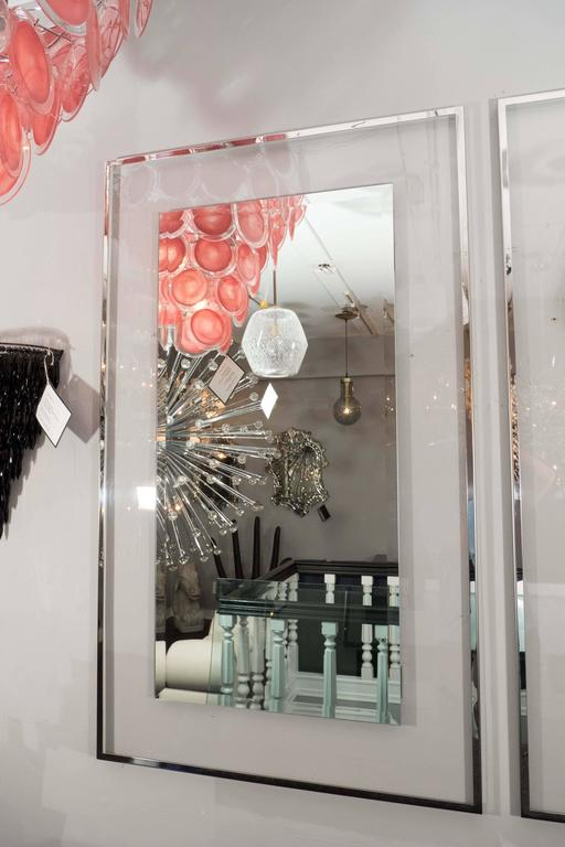 Modern Lucite and Mirrored Stainless Steel Trimmed Mirror For Sale