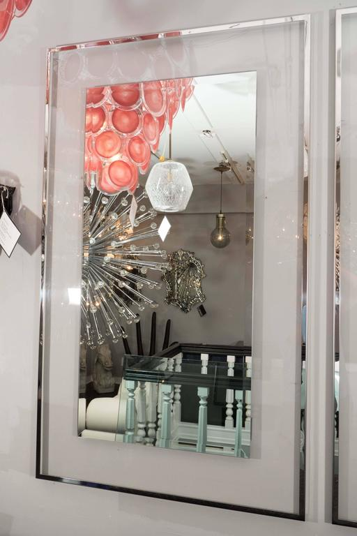 American Lucite and Mirrored Stainless Steel Trimmed Mirror For Sale