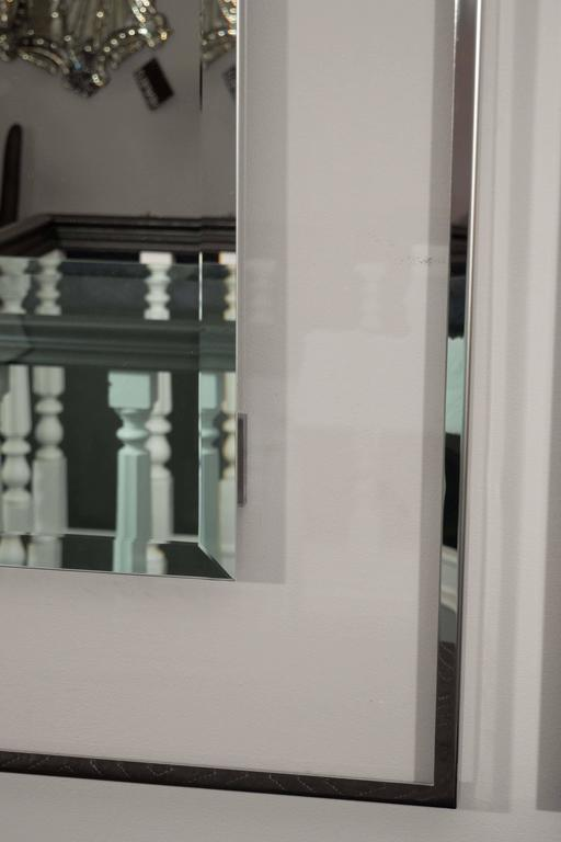 Lucite and Mirrored Stainless Steel Trimmed Mirror In Excellent Condition For Sale In New York, NY