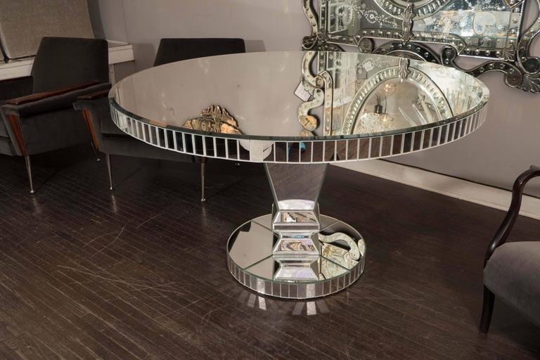 Custom Round Starfire Mirrored Dining Table With Mirrored Side Baguettes  And Pedestal Stand Base.