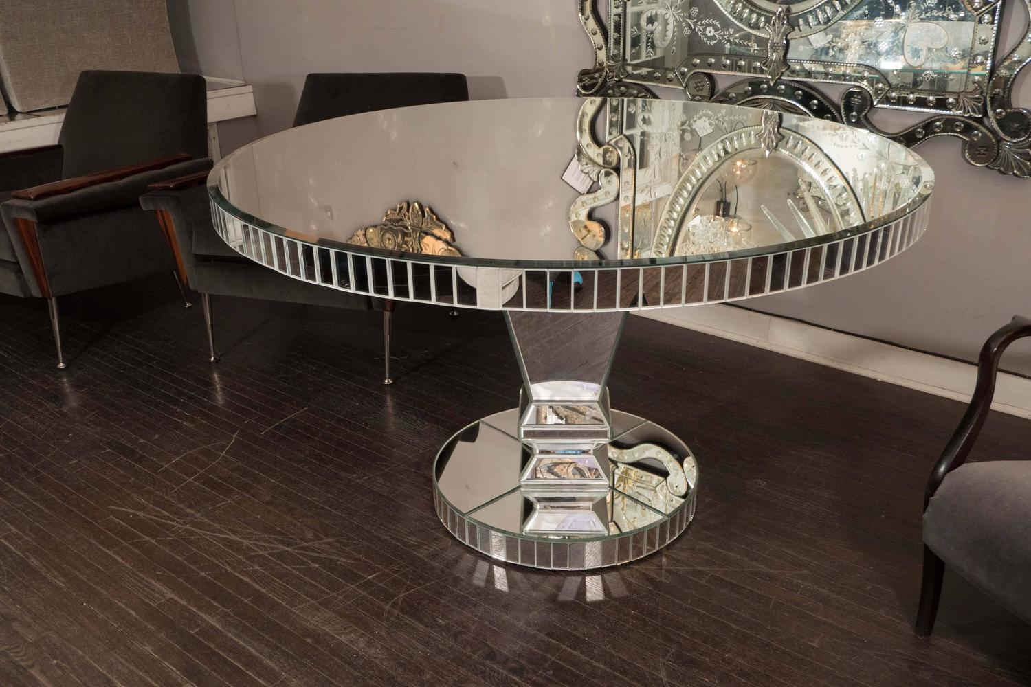 Custom round mirrored dining table for sale at 1stdibs for Unique round kitchen tables