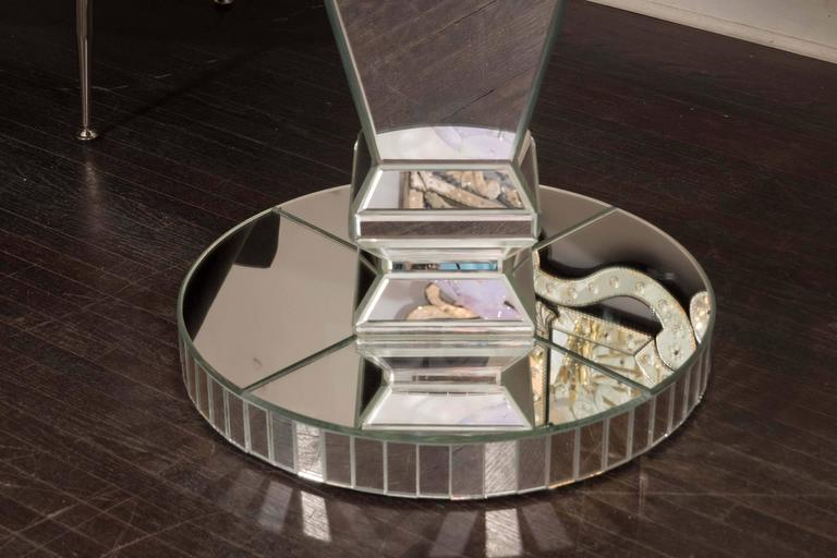 Modern Custom Round Mirrored Dining Table For Sale