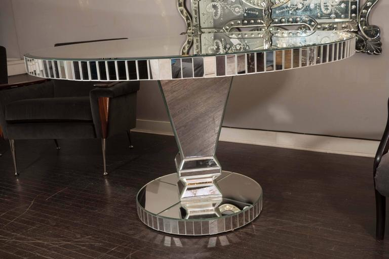 American Custom Round Mirrored Dining Table For Sale