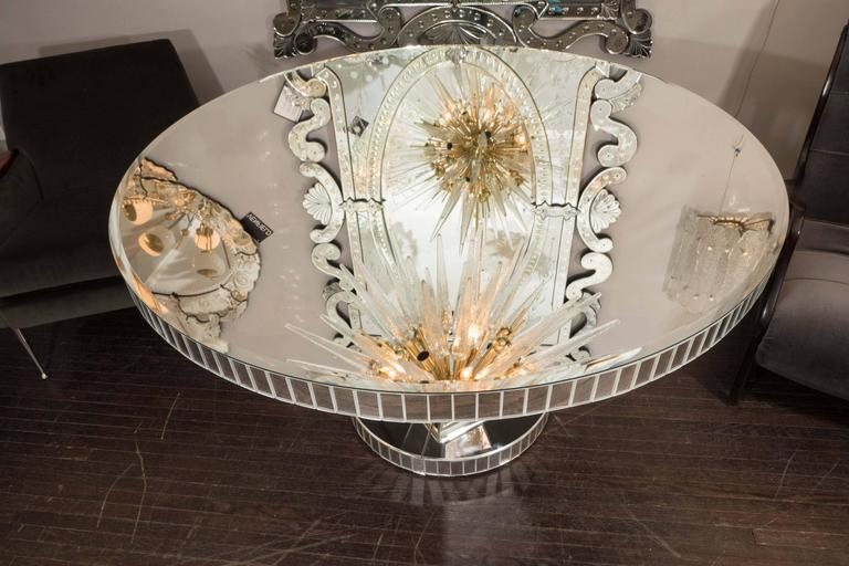 Custom Round Mirrored Dining Table For Sale 1