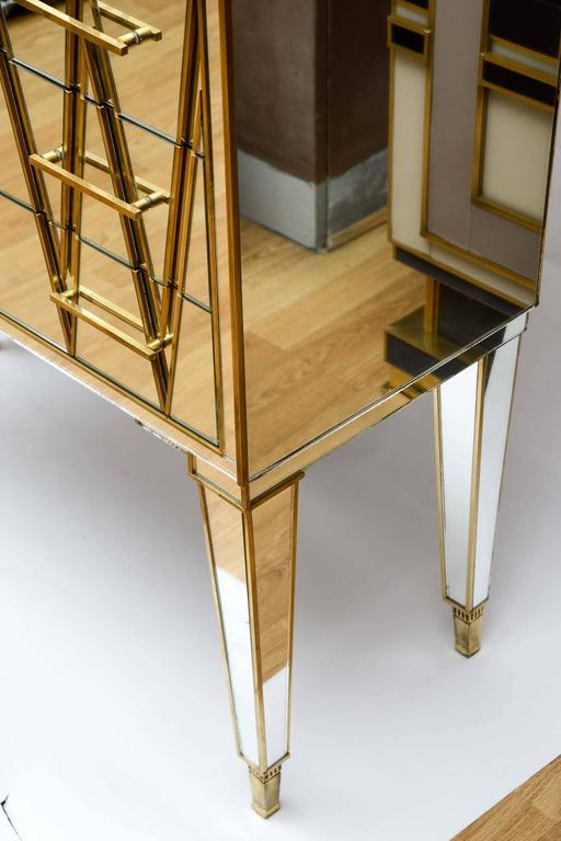 Italian Commode in Mirror and Brass with Three Drawers For Sale at ...