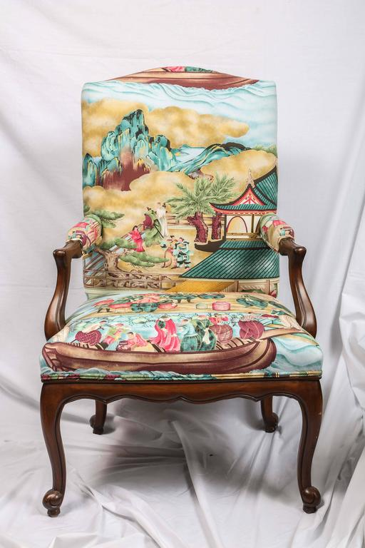 American Pair of Chinoiserie Detailed Fauteuils For Sale