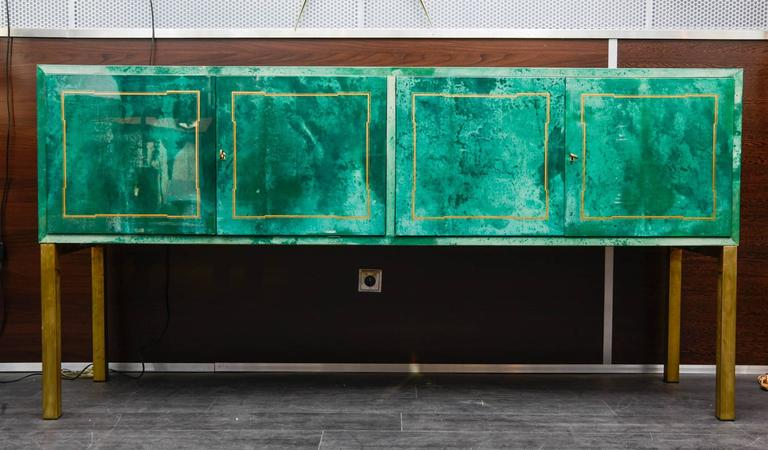 Super rare green goatskin cabinet by Aldo Tura.  One drawer is missing.  See condition report.