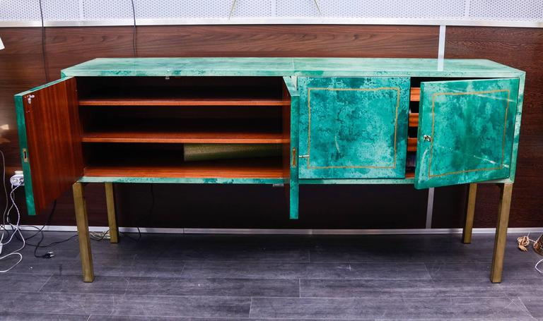 Late 20th Century Rare Green Parchment Sideboard by Aldo Tura For Sale
