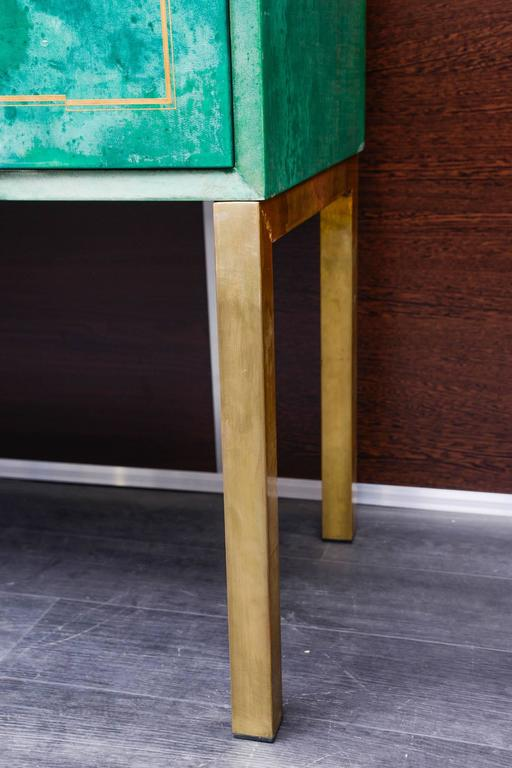 Brass Rare Green Parchment Sideboard by Aldo Tura For Sale