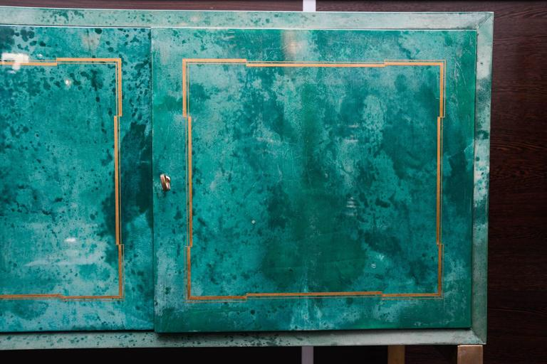 Rare Green Parchment Sideboard by Aldo Tura For Sale 1
