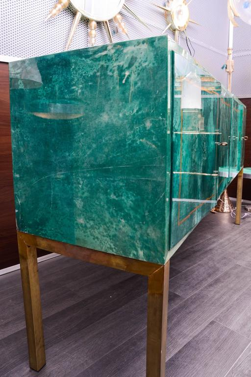 Rare Green Parchment Sideboard by Aldo Tura For Sale 2